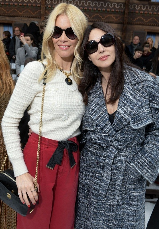 Claudia schiffer and monica bellucci at the chanel show