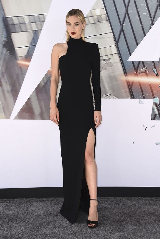 Vanessa kirby in a black tom ford  gown