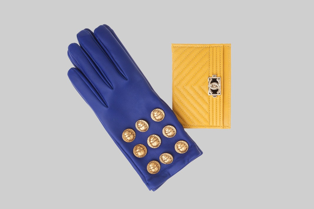 Gants bleues & Porte carte jaune LINEA PIU LUXURY ITEMS