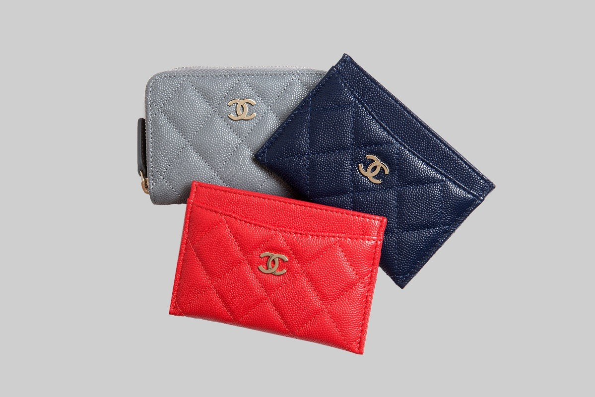 Red & navy timeless classic card holder & Grey timeless classic coin purse LINEA PIU LUXURY ITEMS